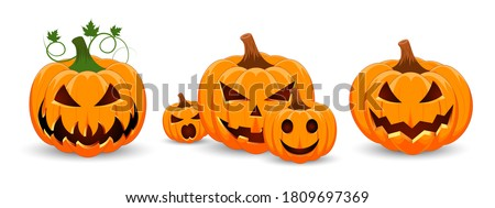 set of pumpkins on white