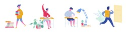 Set  of pupils, school children and students going to school, college or university. Sitting school girl and school boy, student with books. Science and education concept. Vector illustration