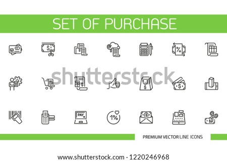 Set of Purchase Line Icons. Spending money, shopping, payment. Buying concept. Can be used for commerce, consumerism, finance