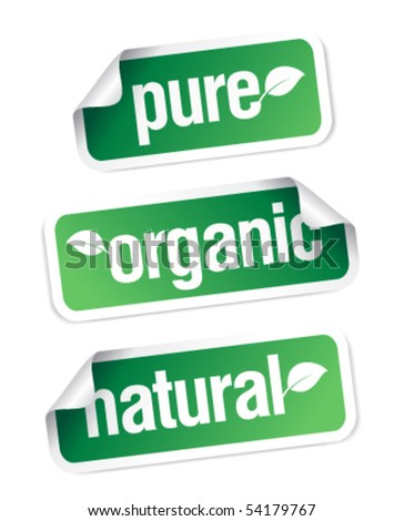 Set of pure, organic and natural stickers.