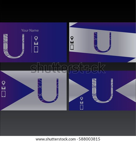 Set of purple business cards with letter U, separated vector templates for cards,presentations,business cards  - Shutterstock ID 588003815