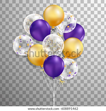 Set of purple, gold, transparent with confetti helium balloon isolated in the air .Party decorations for birthday, anniversary, celebration. vector.