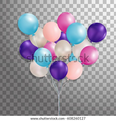 Set of purple, pink, silver, blue helium balloon isolated in the air. Party decorations for birthday, anniversary, celebration. . Vector.