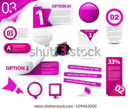 Set of purple vector progress, version, step icons