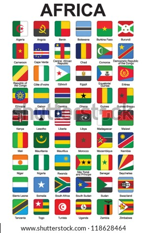 set of push buttons with African countries flags vector illustration