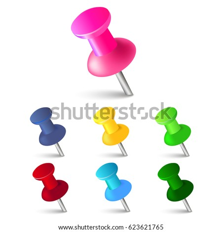 Set of push pins in different colors. Thumbtacks. Top view. Vector illustration