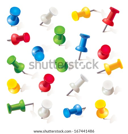 Set of push pins in different colors. Thumbtacks. Top view. Vector illustration. Isolated on white background. Set