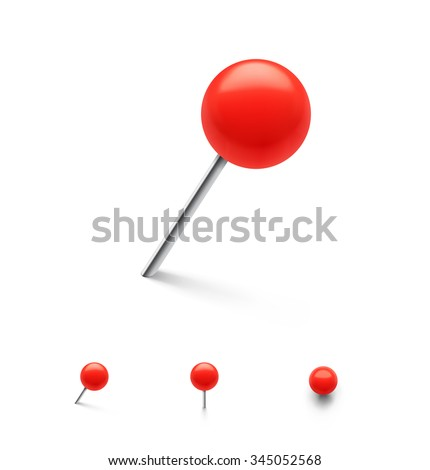 Set of push pins in different foreshortening. Vector illustration.