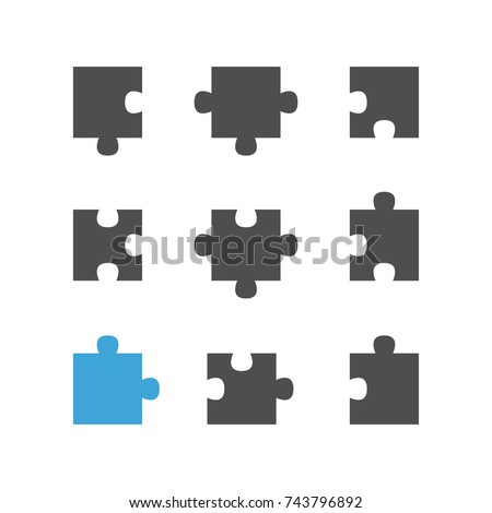 Set of puzzle flat icons, pictogram on white background. Vector illustration.