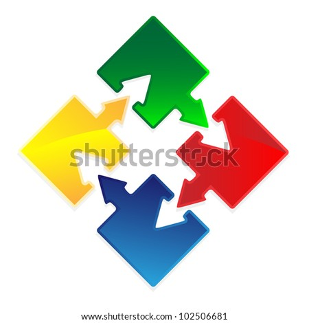 Set of Puzzles with arrows as success concept vector image.