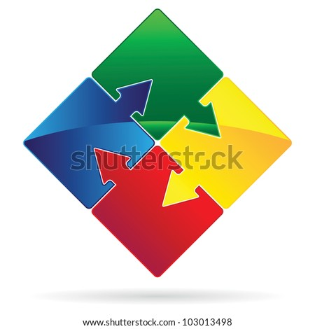 Set of Puzzles with arrows as teamwork concept vector image.