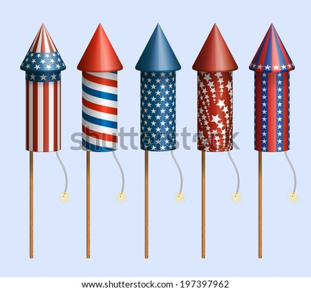 set of pyrotechnic rockets