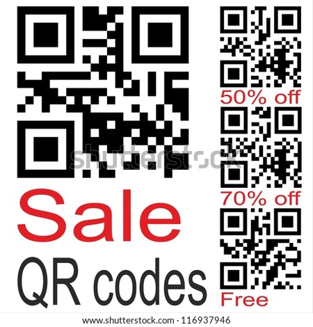 Set of qr code for smart phone. Sale, Free