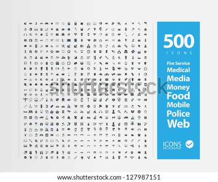 Set of 500 Quality icon (  Fire Service icons , Medical icons , Media icons , Money icons , Food icons ,Mobile icons , Police icons ,Web icons )