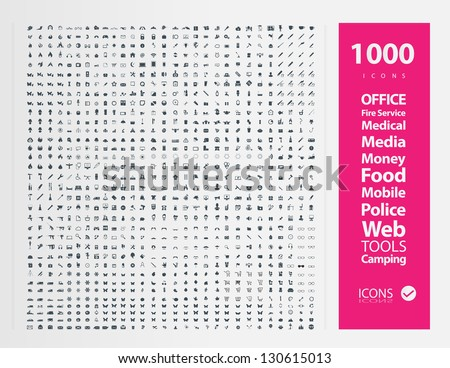 Set of 1000 Quality icon ( Fire Service icons , Medical icons , Media icons , Money icons , Food icons ,Mobile icons , Police icons ,Web icons , Camping icons, butterfly icons snowflakes icon ) - stock vector