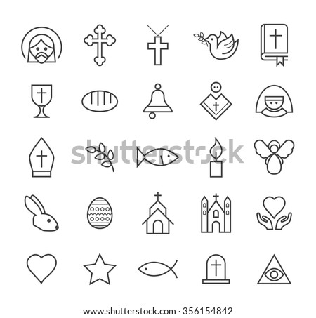 Set of Quality Isolated Universal Standard Minimal Simple Christian Black Thin Line Icons on White Background.