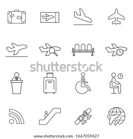 Set of Quality Universal Standard Minimal Simple Airport Black Thin Line Icons on White Background. Symbol Logo Illustration.