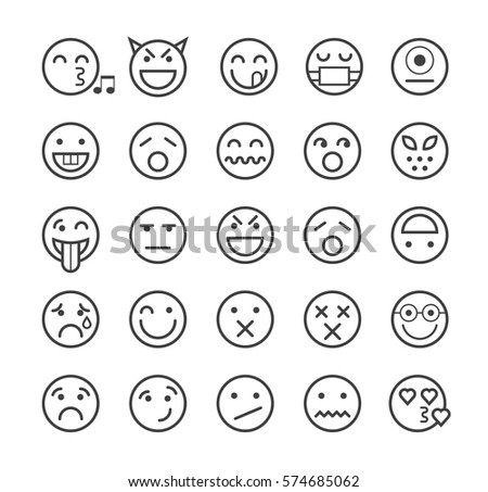 Set of Quality Universal Standard Minimal Simple Black Thin Line Emoticons on White Background