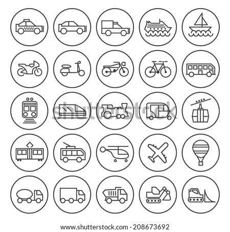 Set of Quality Universal Standard Minimal Simple Transport Black Thin Line Icons on Circular Buttons on White Background.