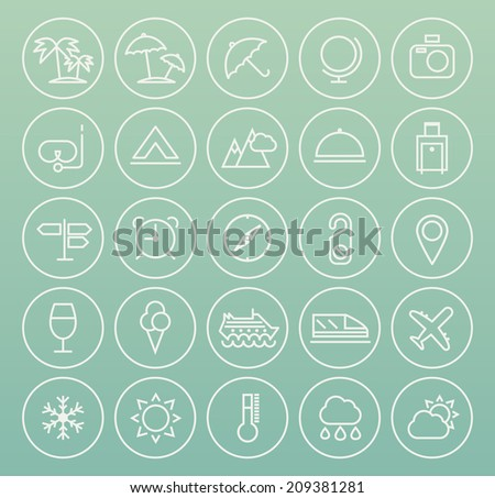 Set of Quality Universal Standard Minimal Simple Travel White Thin Line Icons on Circular Buttons on Color Background.