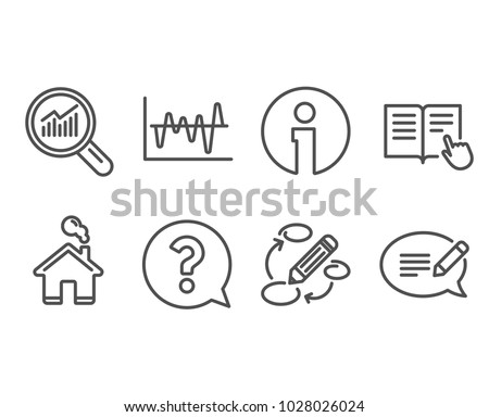 Set of Question mark, Stock analysis and Data analysis icons. Read instruction, Keywords and Message signs. Help support, Business trade, Magnifying glass. Vector
