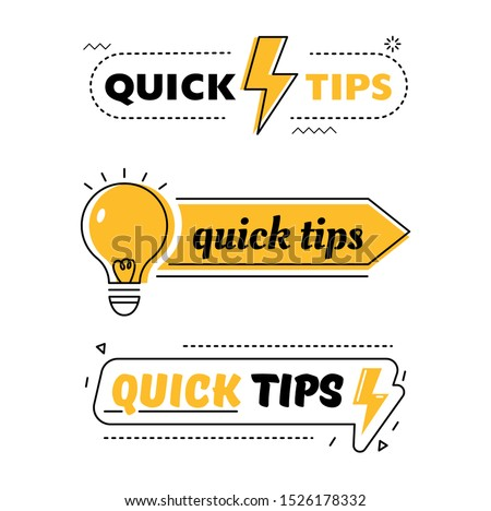 Set of Quick Tips, Helpful Tricks, Tooltip Hint for Website. Abstract Banners with Useful Information, Online Support Icons of Solution, Idea or Advice with Light Bulb. Flat Vector Illustration