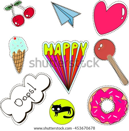 set of quirky cartoon patch badges or fashion pin badges
