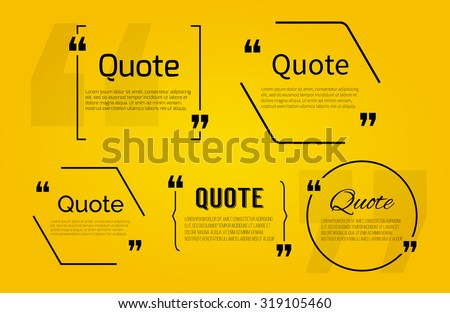 Set of Quote blanks with text bubble with Commas. Vector template for note,message, comment. Dialog box.
