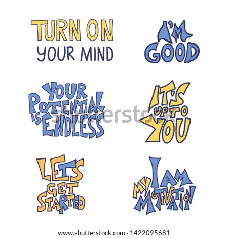 Set of quotes isolated. Motivational handdrawn lettering collection. Inspirational poster stylized phrases. Vector  typography.