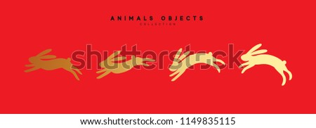 Set of rabbit illustration. Collection golden bunny isolated on red background.