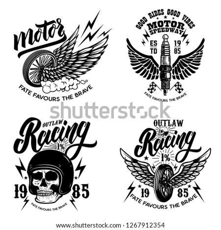 Set of racer emblem templates with motorcycle motor, wheels. wings. Design element for logo, label, emblem, sign, poster, t shirt. Vector illustration