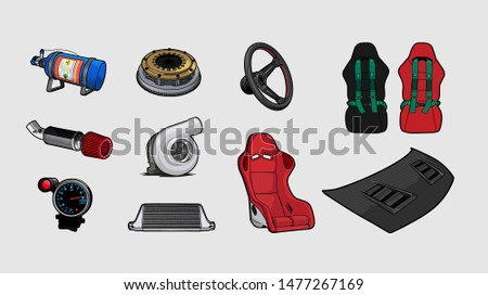 set of racing car accessories