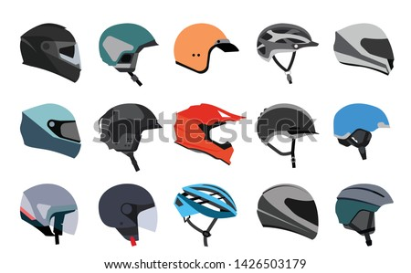 Set of racing helmets on a white background. Racing helmets for car, motorcycle and bicycle. Head protection.