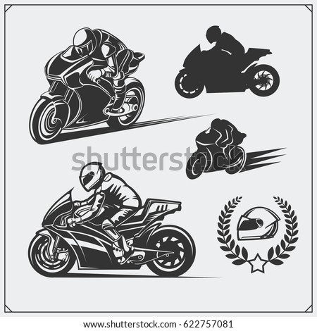 set of racing motorcycle