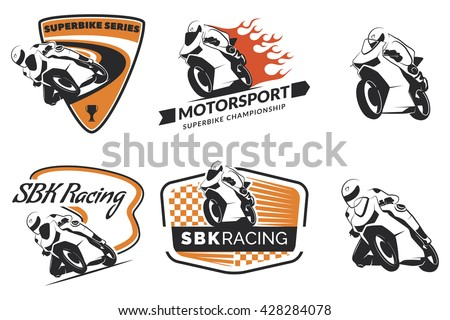 set of racing motorcycle logo