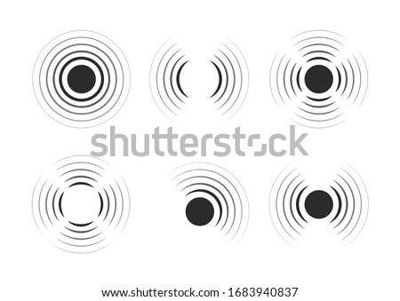 Set of radar icons. Sonar sound waves. Modern flat style vector illustration. Сток-фото ©
