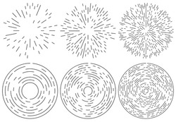 Set of radiating and concentric lines element. Random, irregular, dynamic lines.