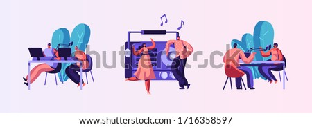 Set of Radio Personality On-air. Introduce and Play Individual Selection of Record Music. Host Talk Show, Interviews Celebrity or Guest. Listener Characters Dance. Cartoon People Vector Illustration