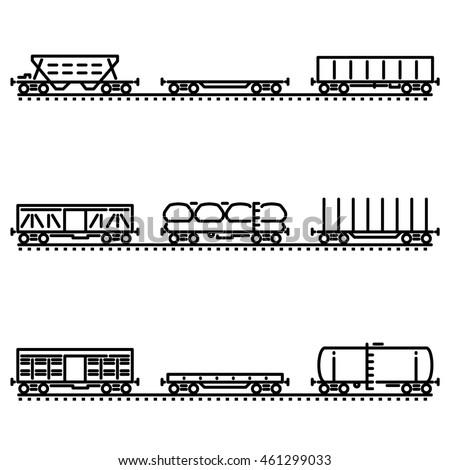set of rail car flat line icons