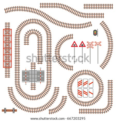 set of railway parts and road