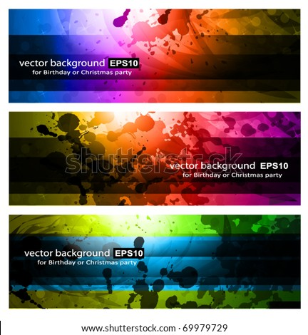 Set of Rainbow Backgrounds - 3 Colorful Banners