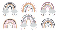 Set of rainbows with hearts, clouds, rain in childish scandinavian style style isolated on white background. Perfect for kids, posters, prints, cards, fabric, children's books.