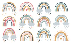 Set of rainbows with hearts, clouds, rain in childish scandinavian style style isolated on white background. Perfect for kids, posters, prints, cards, fabric.