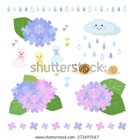 set of rainy season elements