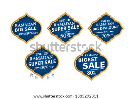 Set of Ramadan Kareem Labels. Eid Offer Discount Tag Collection. Islamic promotion gold effect.vector illustration