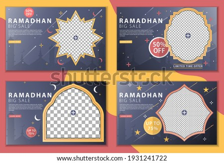 Set of Ramadhan big sale with landing page concept. Big sale promotion, banner Ramadhan, special offer sale discount. Use for greeting card, poster, flyer, brochure, vector illustration template.