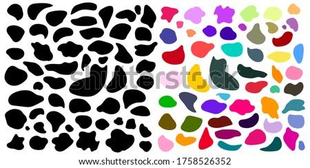 Set of random blotch, inkblot. Colored, black organic blob, blot. Drop of liquid, fluid. Pebble, stone silhouette. Ink stain, mottle spot irregular shape. Vector basic, simple rounded, smooth form.