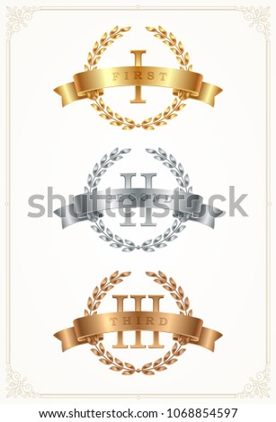 Set of rank emblems - gold, silver, bronze. First place, second place and third place signs with roman numerals, laurel wreath and ribbon. Vector illustration