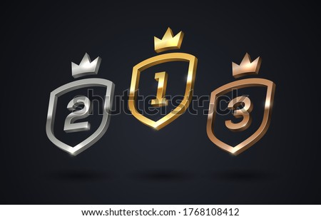Set of rank emblems - gold, silver, bronze. Shield with rank number and crown. First place, second place and third place signs. Vector illustration.