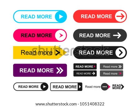 Set of Read More colorful button. Flat line gradient button collection. Web element. Vector illustration. Isolated on white background